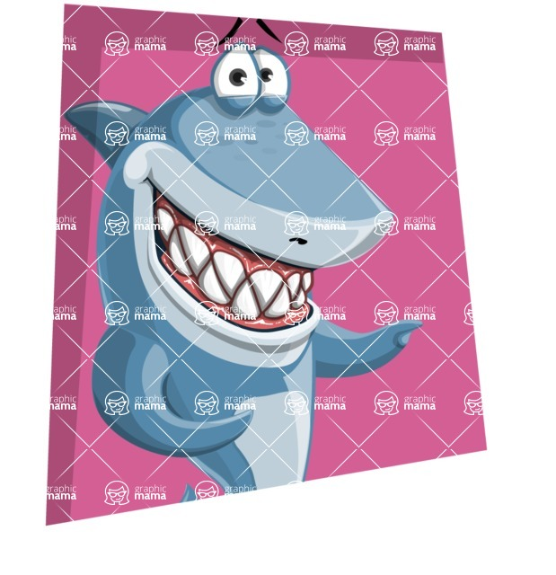 Shark Cartoon Vector Character AKA Sharko Polo - With a Square Shape Background