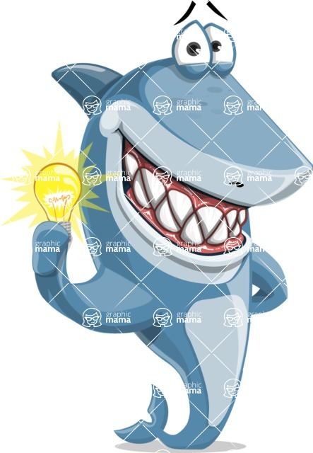 Shark Cartoon Vector Character AKA Sharko Polo - With an Idea
