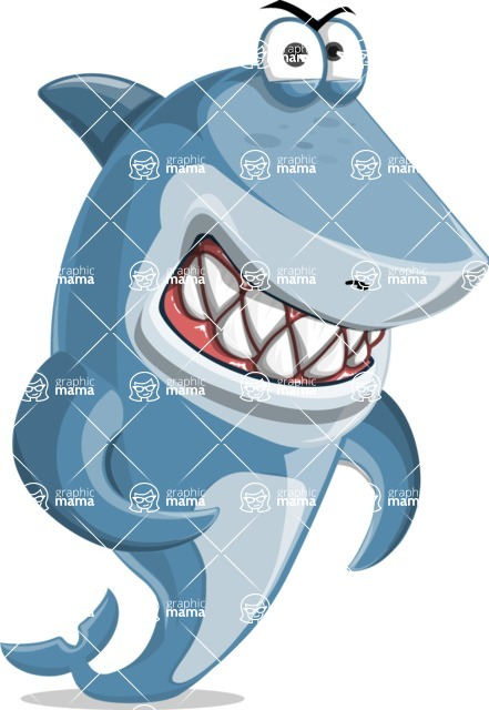 Shark Cartoon Vector Character - 112 Poses - With Angry Face