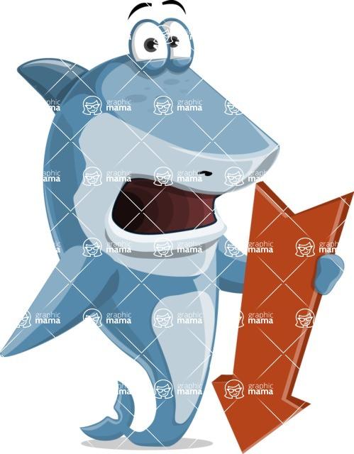 Shark Cartoon Vector Character AKA Sharko Polo - With Arrow Going Down