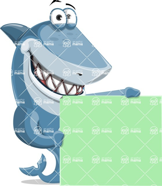 Shark Cartoon Vector Character - 112 Poses - With Blank Banner and Happy Face