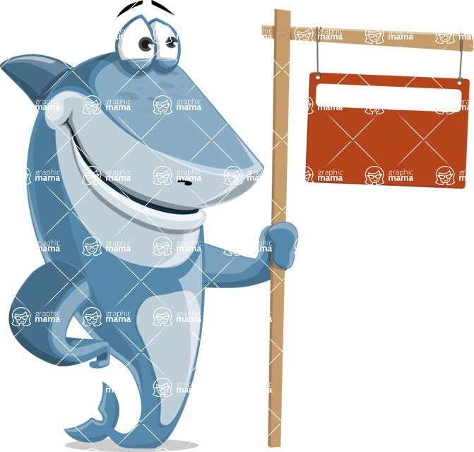 Shark Cartoon Vector Character AKA Sharko Polo - With Blank Real Estate Sign