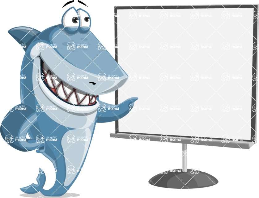 Shark Cartoon Vector Character - 112 Poses - With Blank Whiteboard