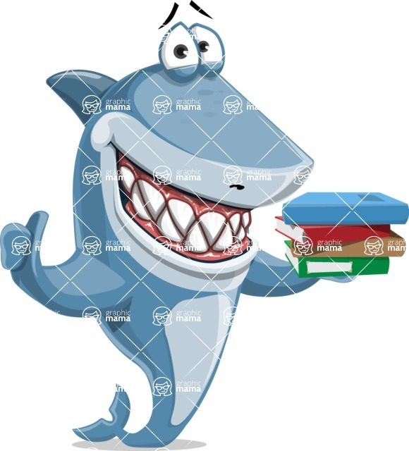 Shark Cartoon Vector Character - 112 Poses - With Books