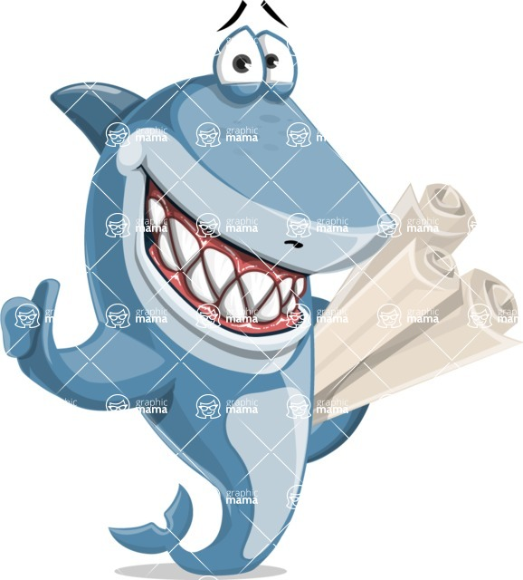 Shark Cartoon Vector Character - 112 Poses - With Business Plans