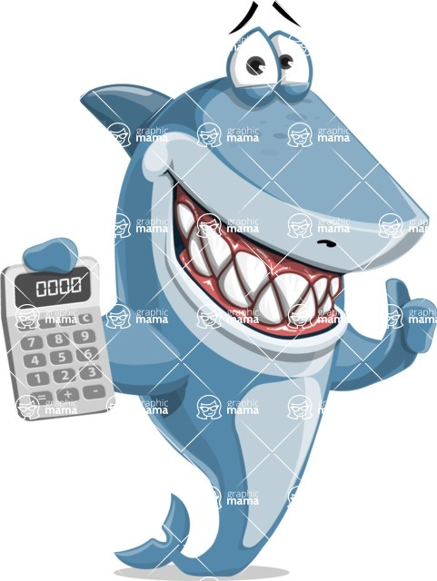 Shark Cartoon Vector Character - 112 Poses - With Calculator