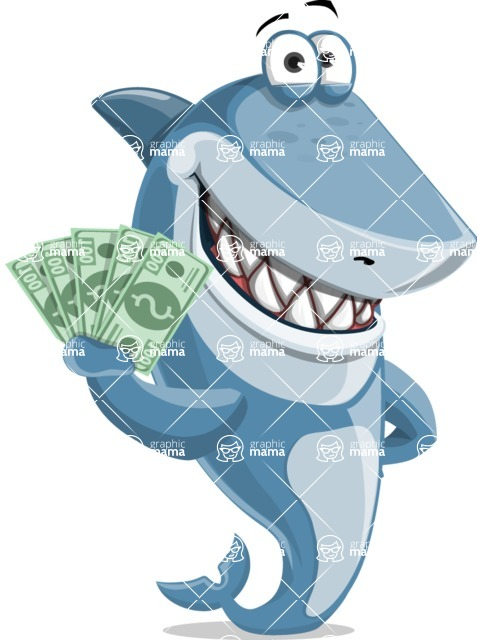 Shark Cartoon Vector Character AKA Sharko Polo -  With Cash Money