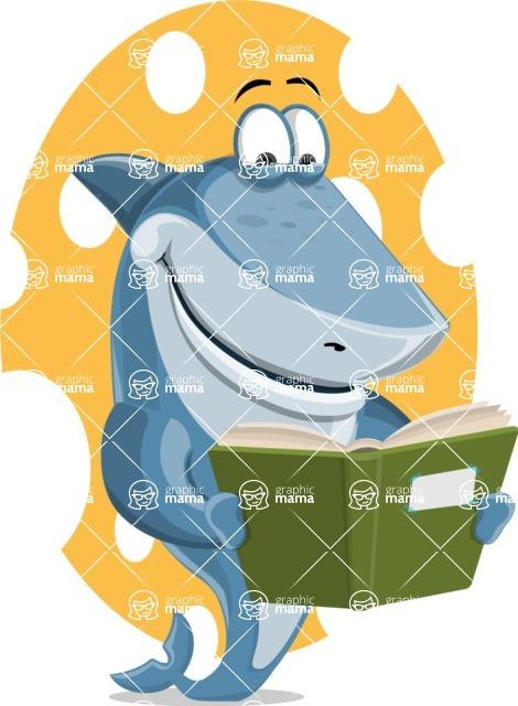 Shark Cartoon Vector Character AKA Sharko Polo - With Colorful Background