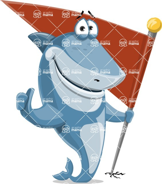 Shark Cartoon Vector Character - 112 Poses - With Flag