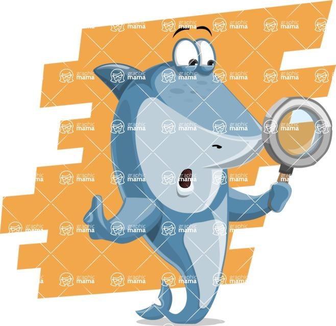Shark Cartoon Vector Character AKA Sharko Polo - With Flat Background