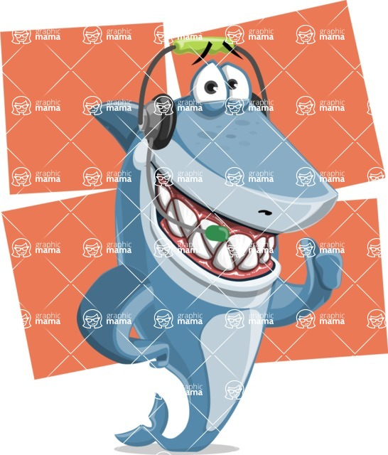 Shark Cartoon Vector Character - 112 Poses - With Flat Shapes Background