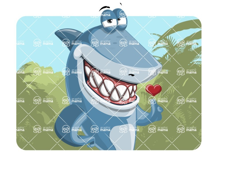 Shark Cartoon Vector Character AKA Sharko Polo - With Nature Background