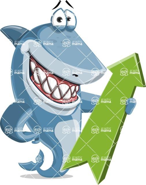 Shark Cartoon Vector Character AKA Sharko Polo - With Positive Arrow
