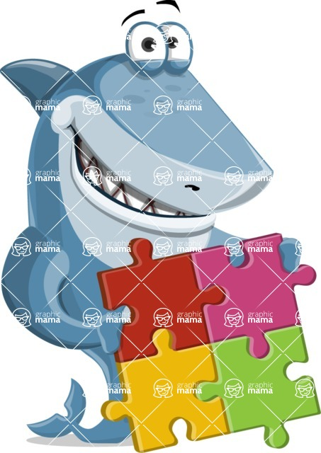 Shark Cartoon Vector Character AKA Sharko Polo - With Puzzle