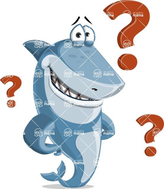 Shark Cartoon Vector Character AKA Sharko Polo - With Question Mark