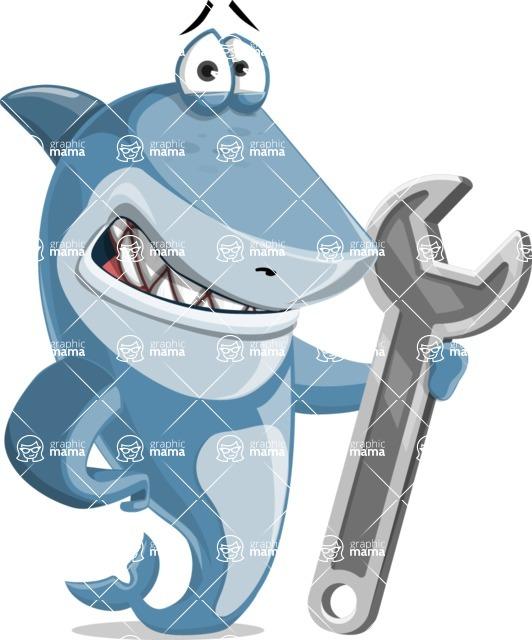 Shark Cartoon Vector Character AKA Sharko Polo - With Repairing Tools - Wrench