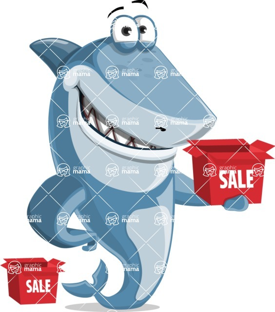 Shark Cartoon Vector Character AKA Sharko Polo - With Sale Boxes
