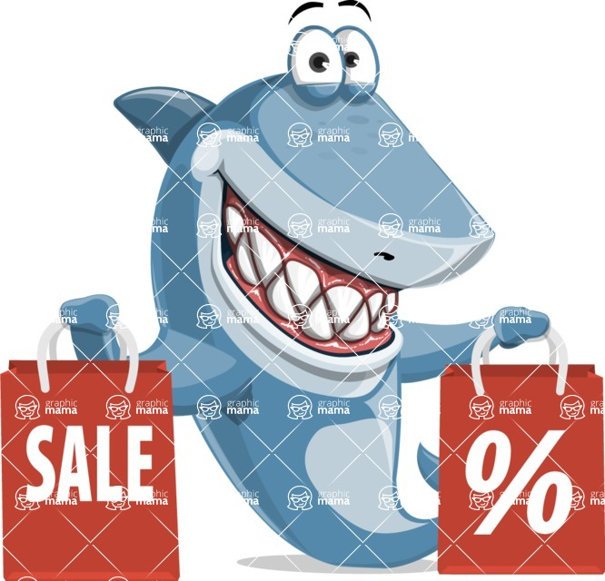 Shark Cartoon Vector Character - 112 Poses - With Shopping Bags