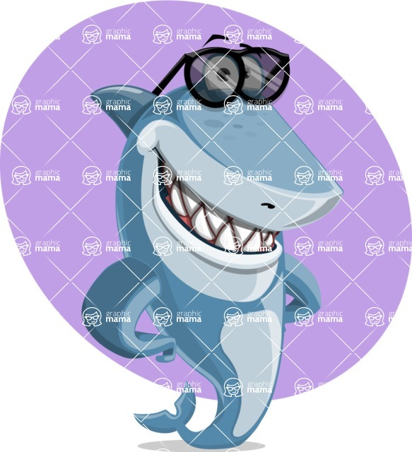 Shark Cartoon Vector Character - 112 Poses - With Simple Background