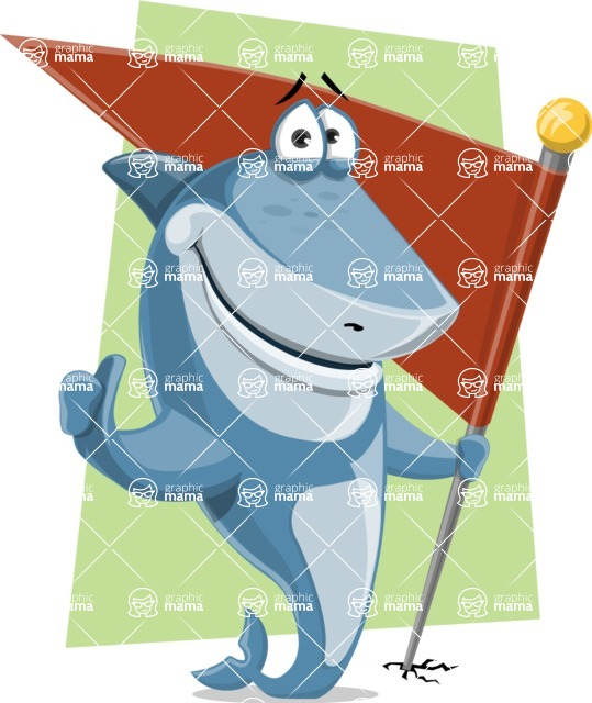 Shark Cartoon Vector Character AKA Sharko Polo - With Simple Flat Background