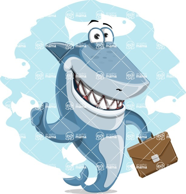 Shark Cartoon Vector Character AKA Sharko Polo - With Simple Water Background