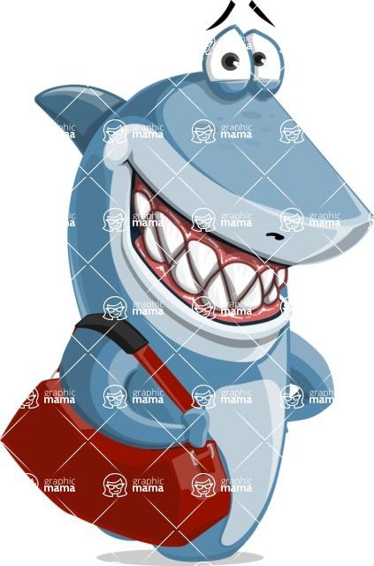 Shark Cartoon Vector Character AKA Sharko Polo - With Suitcase