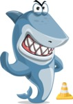 Shark Cartoon Vector Character AKA Sharko Polo - as a Construction Worker