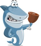 Shark Cartoon Vector Character AKA Sharko Polo - Being Hungry and Holding Meat