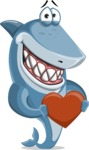 Shark Cartoon Vector Character AKA Sharko Polo - Being Kind with a Love Heart