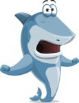 Shark Cartoon Vector Character - 112 Poses - Feeling Shocked