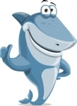 Shark Cartoon Vector Character - 112 Poses - Giving Thumbs Up