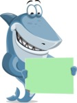 Shark Cartoon Vector Character AKA Sharko Polo - Holding a Blank Sign