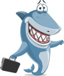 Shark Cartoon Vector Character - 112 Poses - Holding a Briefcase