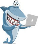 Shark Cartoon Vector Character AKA Sharko Polo - Holding a Laptop
