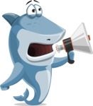 Shark Cartoon Vector Character - 112 Poses - Holding a Loudspeaker