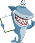 Shark Cartoon Vector Character - 112 Poses - Holding a Notepad and Approving
