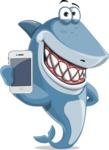 Shark Cartoon Vector Character - 112 Poses - Holding a Phone