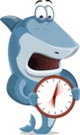 Shark Cartoon Vector Character - 112 Poses - Holding Clock