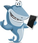 Shark Cartoon Vector Character AKA Sharko Polo - Holding Tablet and Giving Thumbs Up