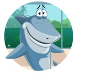 Shark Cartoon Vector Character - 112 Poses - In Office Background