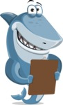 Shark Cartoon Vector Character AKA Sharko Polo - Looking at a Notepad