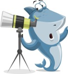 Shark Cartoon Vector Character AKA Sharko Polo - Looking Through a Telescope