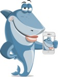 Shark Cartoon Vector Character AKA Sharko Polo - Making a Selfie with a Phone