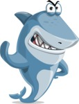 Shark Cartoon Vector Character AKA Sharko Polo - Making Stop with a Hand