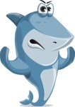 Shark Cartoon Vector Character - 112 Poses - Making Stop with Two Hands