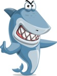Shark Cartoon Vector Character - 112 Poses - Pointing with a Finger and Angry Face