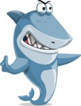 Shark Cartoon Vector Character AKA Sharko Polo - Pointing with a Finger