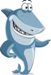 Shark Cartoon Vector Character AKA Sharko Polo - Pointing with a Hand