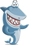 Shark Cartoon Vector Character AKA Sharko Polo - Pointing with Both Hands