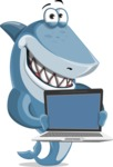 Shark Cartoon Vector Character AKA Sharko Polo - Presenting on Laptop